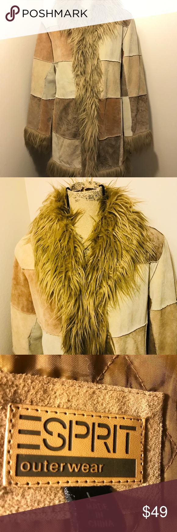 Vintage Esprit Patchwork Suede With Faux Fur Euc Faux Fur Faux Suede [ 1740 x 580 Pixel ]