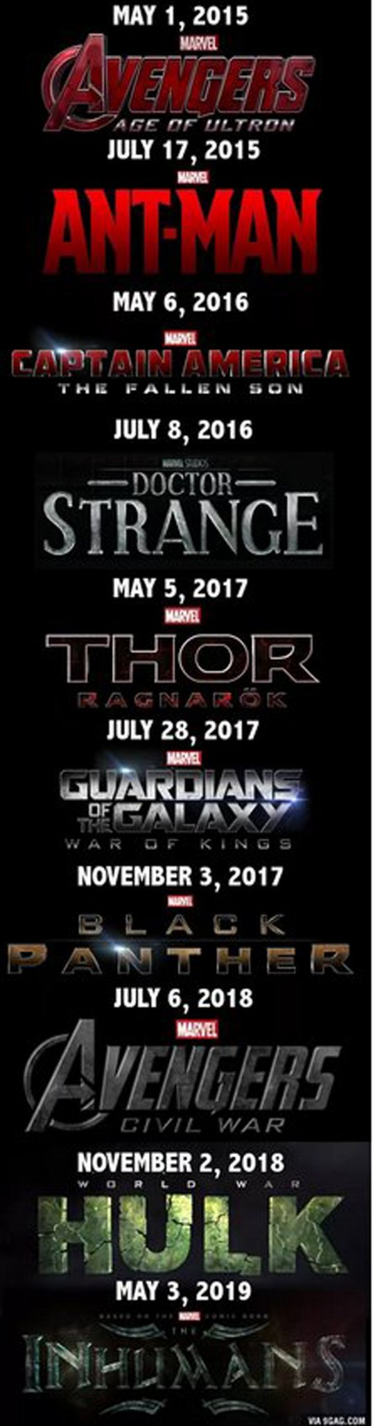 Marvels Sched in two more years.. Hope its accurate!