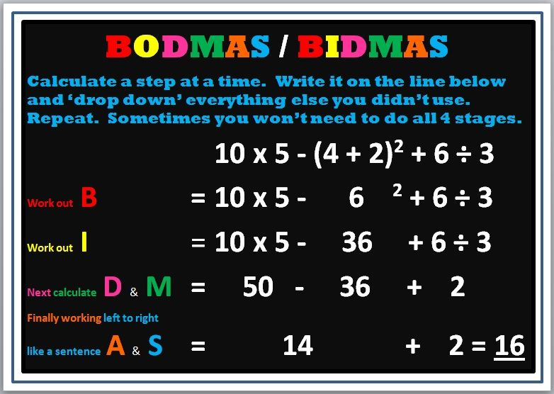 Image result for examples of Bodmas | Maths | Pinterest