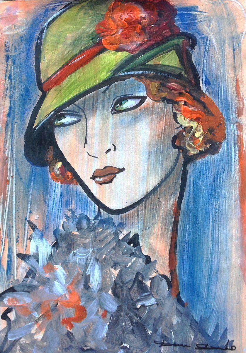 la dame aux girofl es peinture 29x42 cm 2014 par dam domido art d co papier pinteres. Black Bedroom Furniture Sets. Home Design Ideas