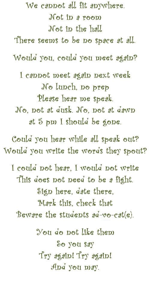 IEPs a Poem by Dr. Seuss... too funny! Click on link to ...