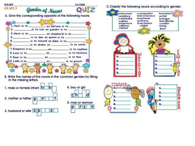 genderofnounsgrade3worksheetjpg 640 480 – Grade 3 Worksheets