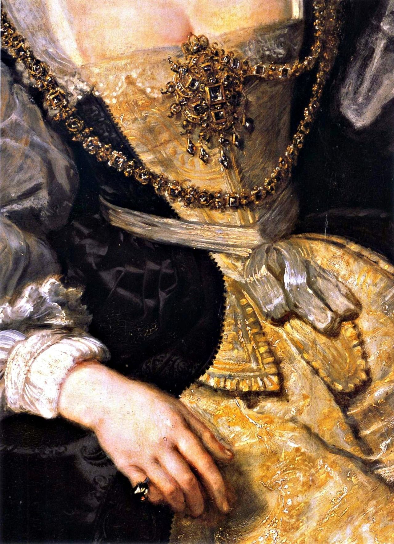Late Baroque: Detail of unknown painting.  Elements of Baroque fashion include heavy ornamentation, rich fabrics, stomachers and opulence.