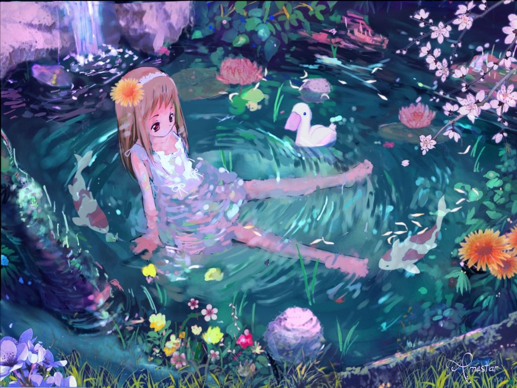 Nature Anime Girl Peaceful Bath Cute Forest Little Lotus Wallpaper ...