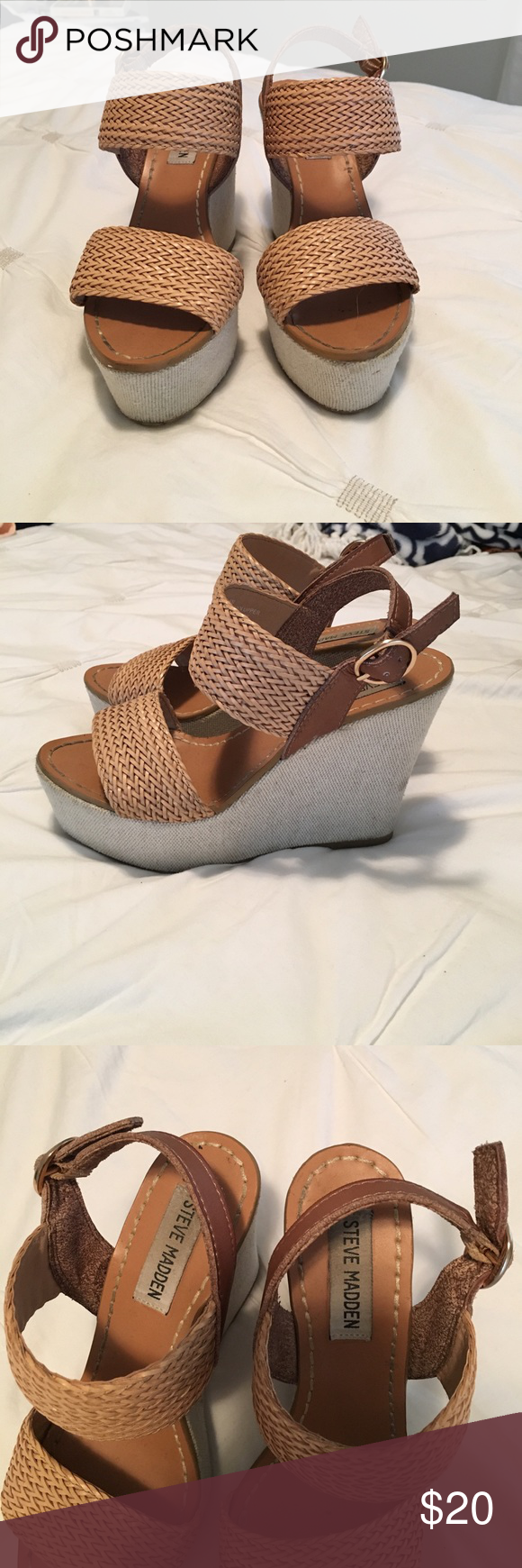 Steve Madden wedges Steve Madden wedges, perfect for summer! Worn a few times, in good condition! Steve Madden Shoes Wedges