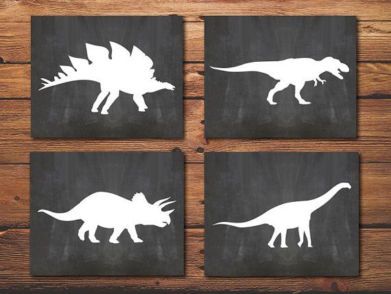 Dinosaur Wall Decor dinosaur posters - dinosaur print - set of 4 nursery posters - boy