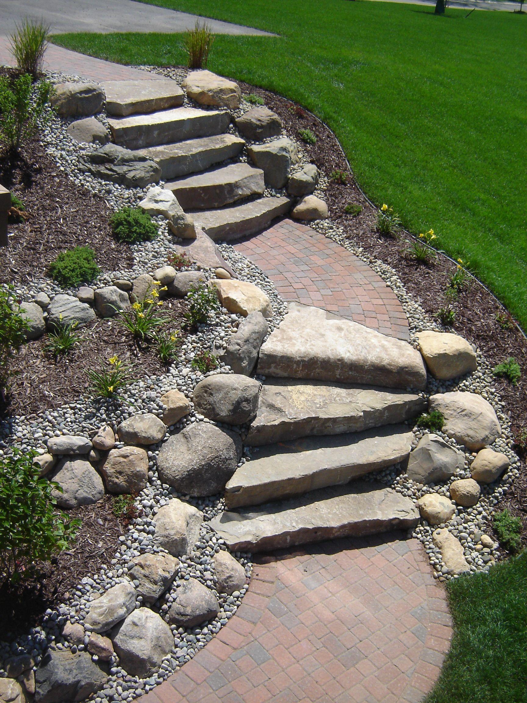 Limestone Stairs With Brick Paver Landings Pathway Landscaping Garden Stairs Landscape Stairs