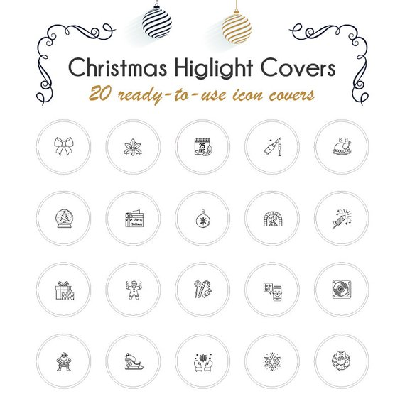 Christmas Icon For Instagram Highlights.20 Christmas Instagram Story Highlight Icons Black White