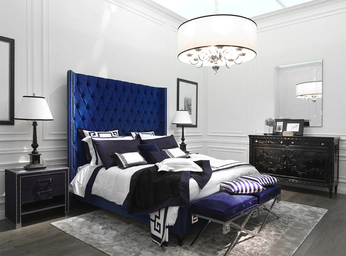 Glamorous luxury blue bedroom decor with extra tall blue ...