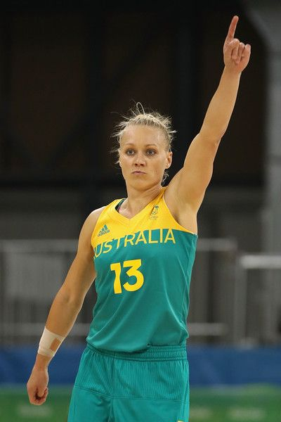 Erin Phillips Photos - Erin Phillips #13 of Australia reacts after scoring against Brazil during a Women's Basketball Preliminary Round game on Day 1 of the Rio 2016…