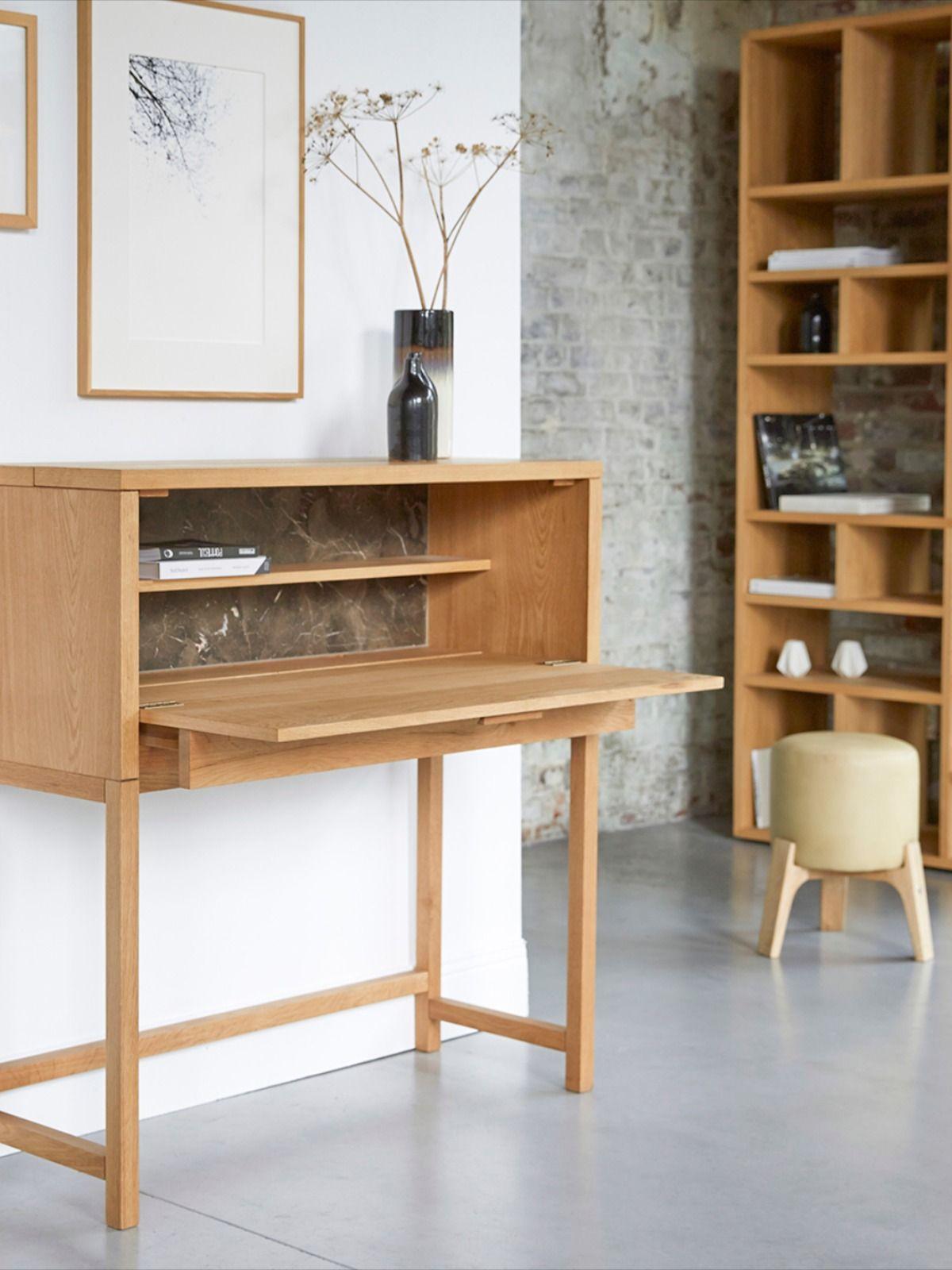 Bureau En Chene Et Marbre 110 Cm Meubles Pour La Chambre Tikamoon En 2020 Marbre Mobilier De Salon Bureau