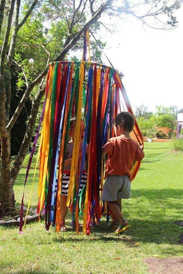 Hoop and ribbons peek a boo outdoor play pinterest for Kids outdoor fabric