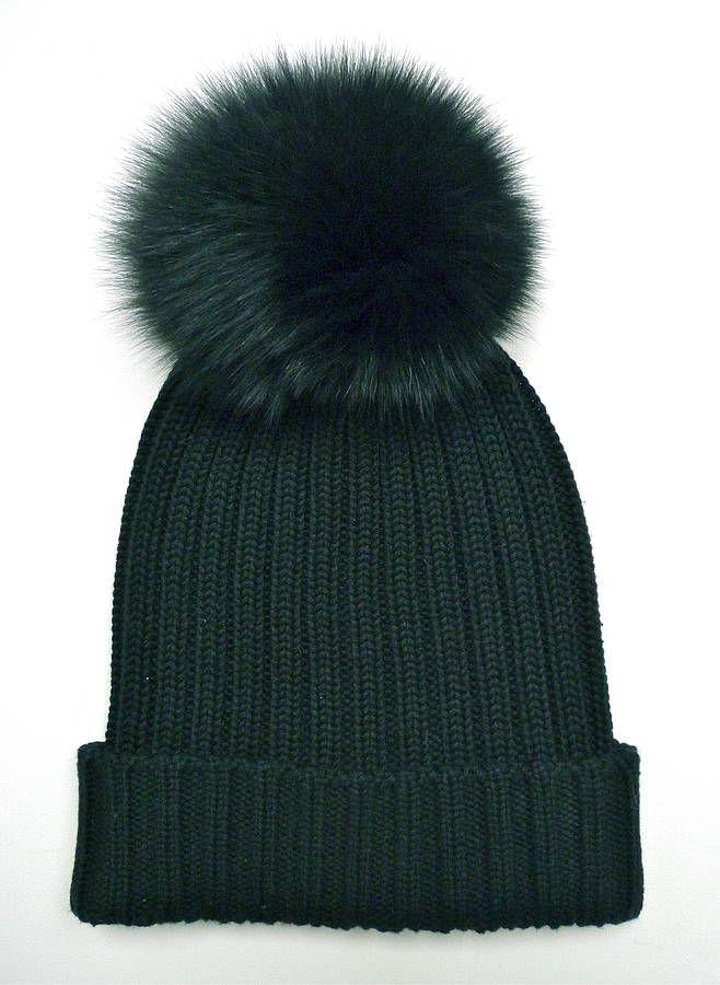bf1d49918ac Need this in my life! Black Rib-Knit Fur Pom Pom Bobble Hat