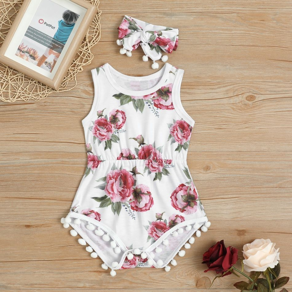 Photo of Pretty Floral Pattern Pompon Decor Bodysuit and Headband Set for Baby Girl