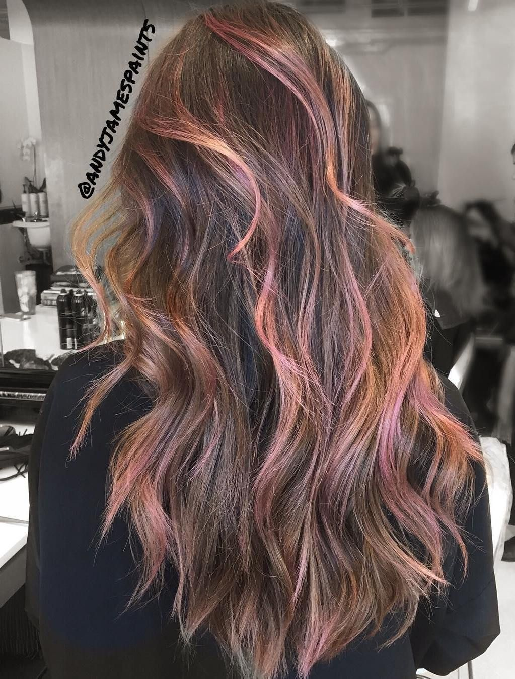 Long Brown Hair With Pink Highlights Brown Hair With Highlights Brown Hair With Highlights And Lowlights Brown And Pink Hair