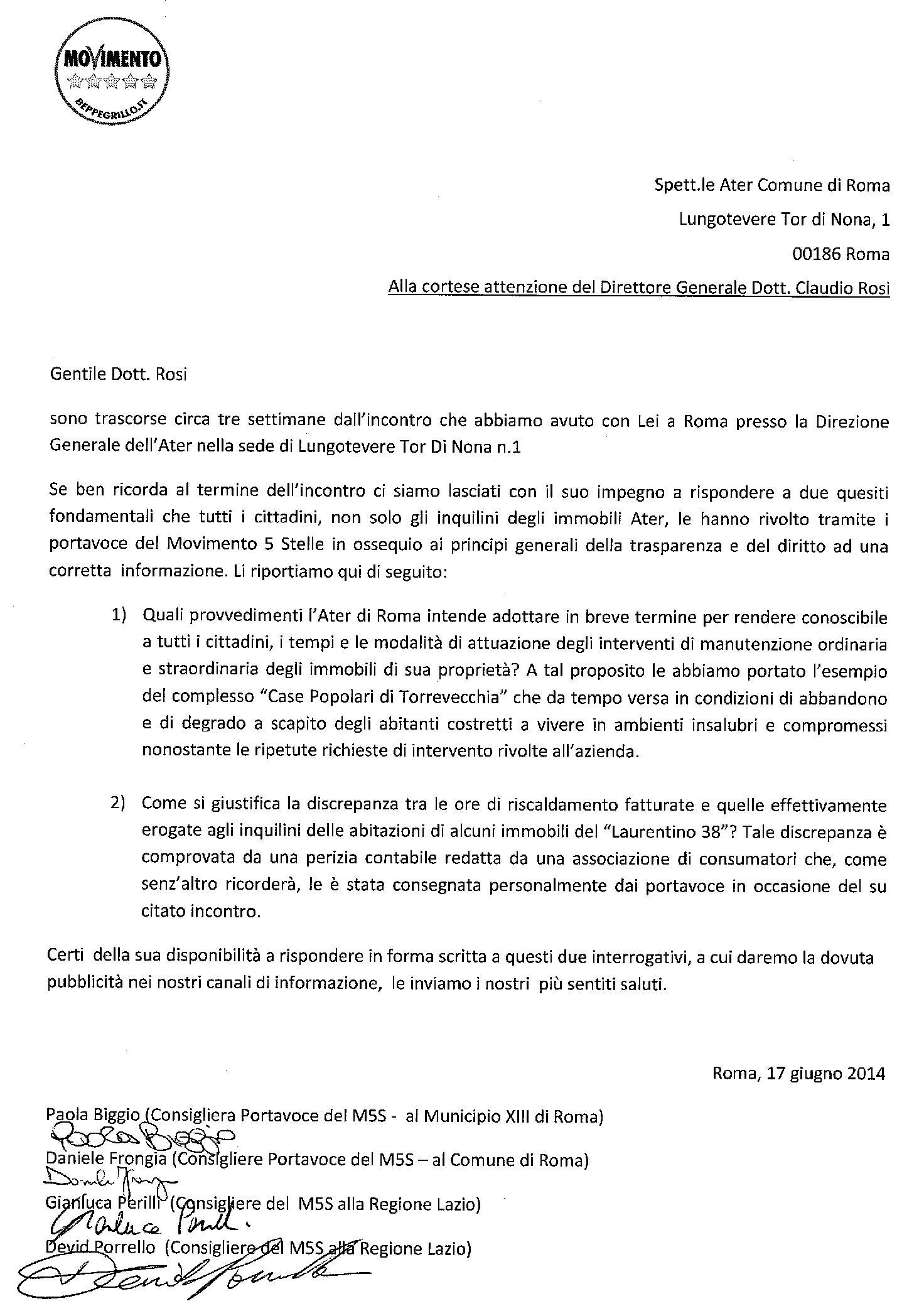La Lettera Al Direttore Generale Ater Manutenzione E