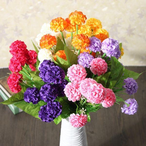 Margarita flores artificiales de seda de flores de crisantemo ramo 8