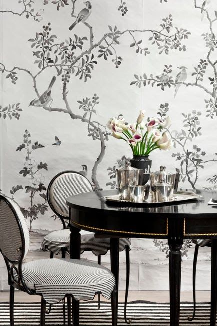 Kemble Interiors   Dining Rooms   Black And White Dining Room, Black And  White Wallpaper, Chinoiserie Wallpaper, Black And White Chinoiserie.