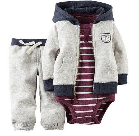 5bea8ce5fe9d 3pcs set Spring Baby Girl boy clothes Set