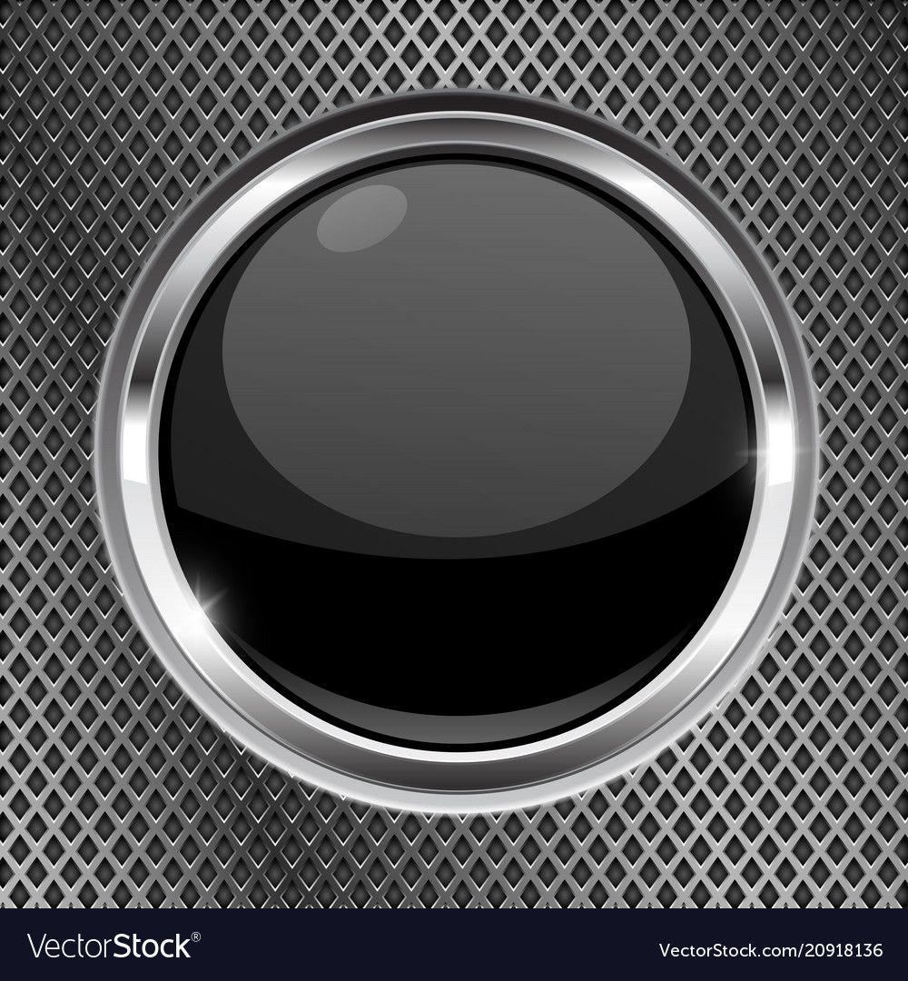 Black button with chrome frame on metal background vector