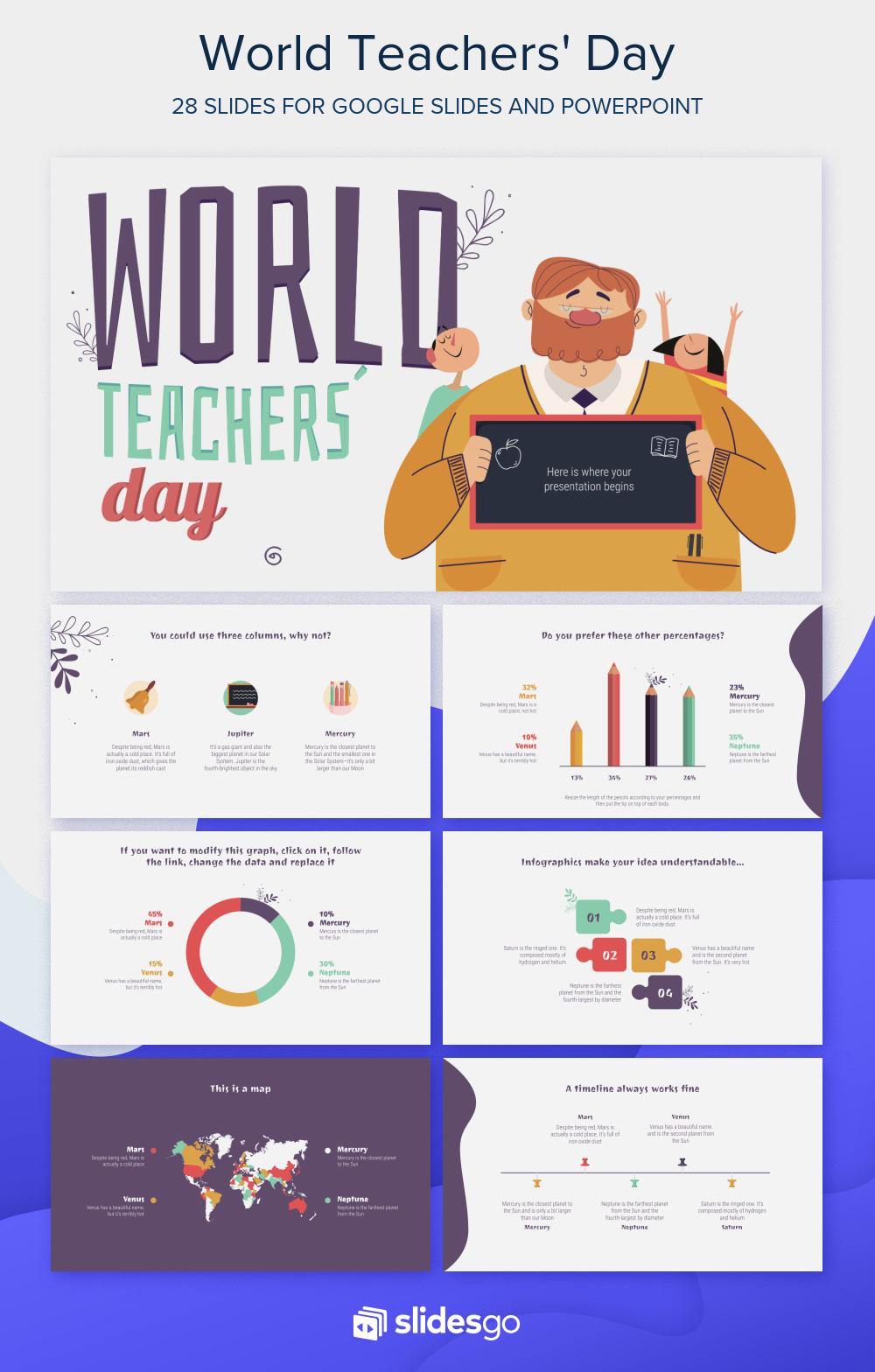Celebrate World Teachers Day Using This Free Customizable Presentation Template In 2020 World Teachers Teachers Day Teacher