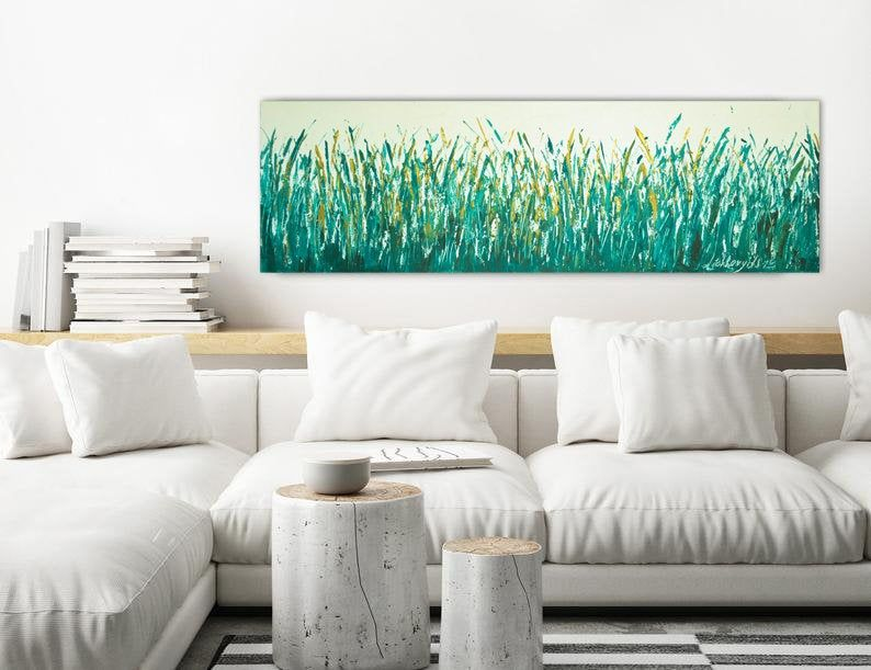 Farmhouse Greenery Art Gold Leaf Impasto Fog Art Emerald Large Etsy Large Wall Art Horizontal Wall Art Green Artwork