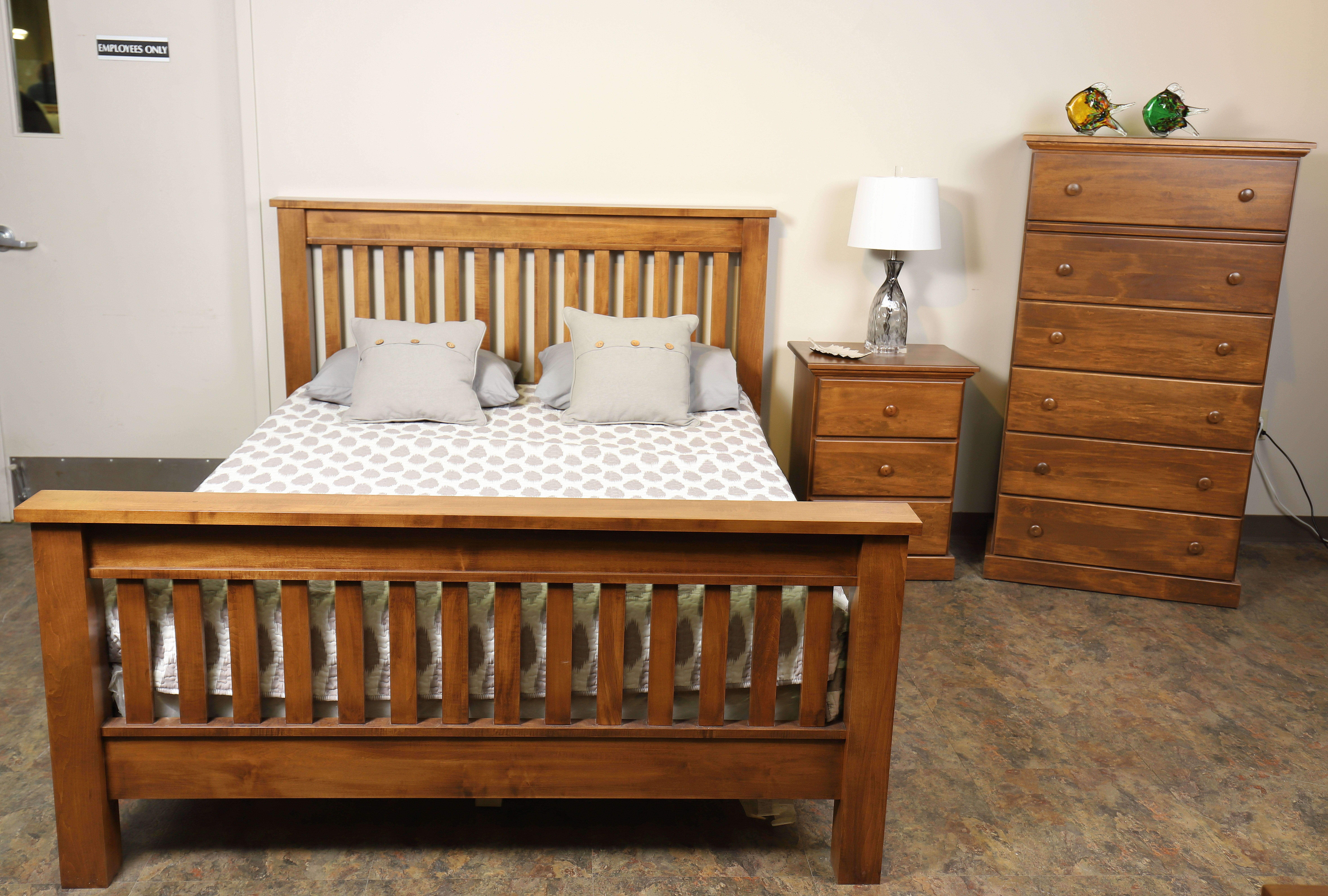 Our Country Slat Bed. Shown Early American stain on brown