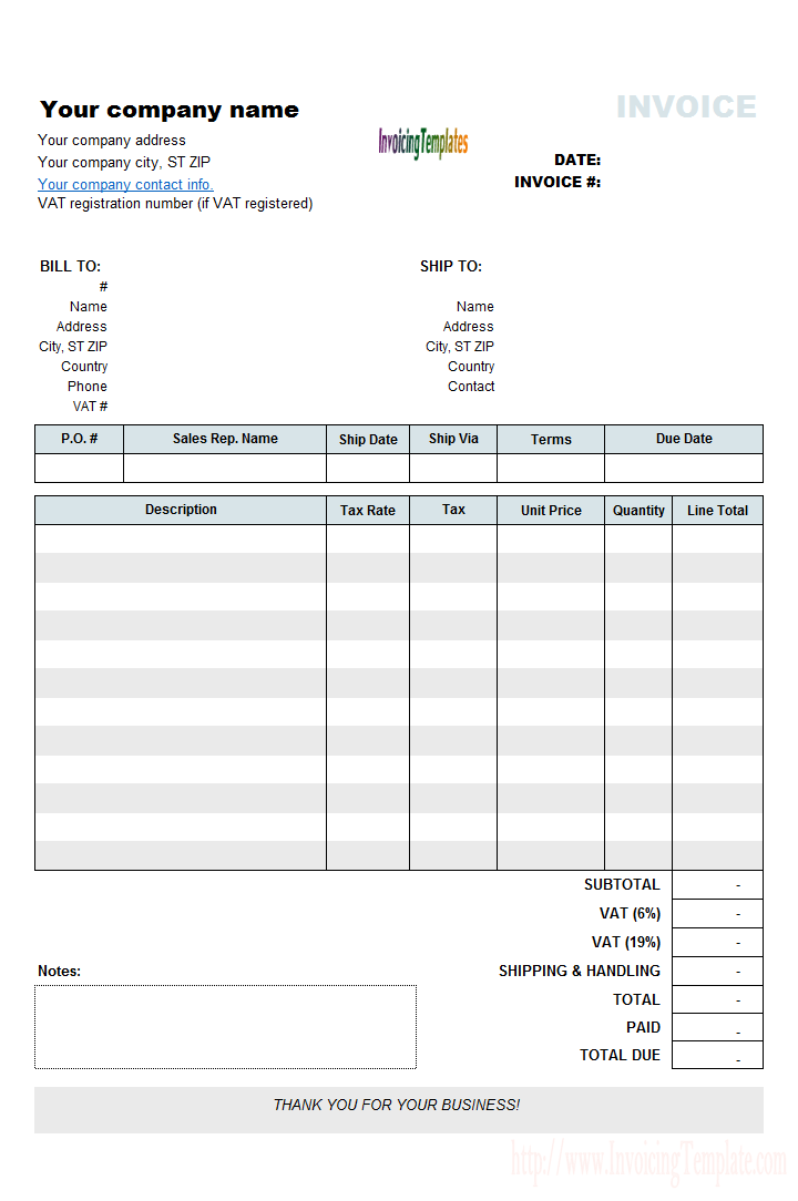 Vat Invoicing Template With Vat Rate And Amount Column Invoice Template Invoice Template Word Invoice Example