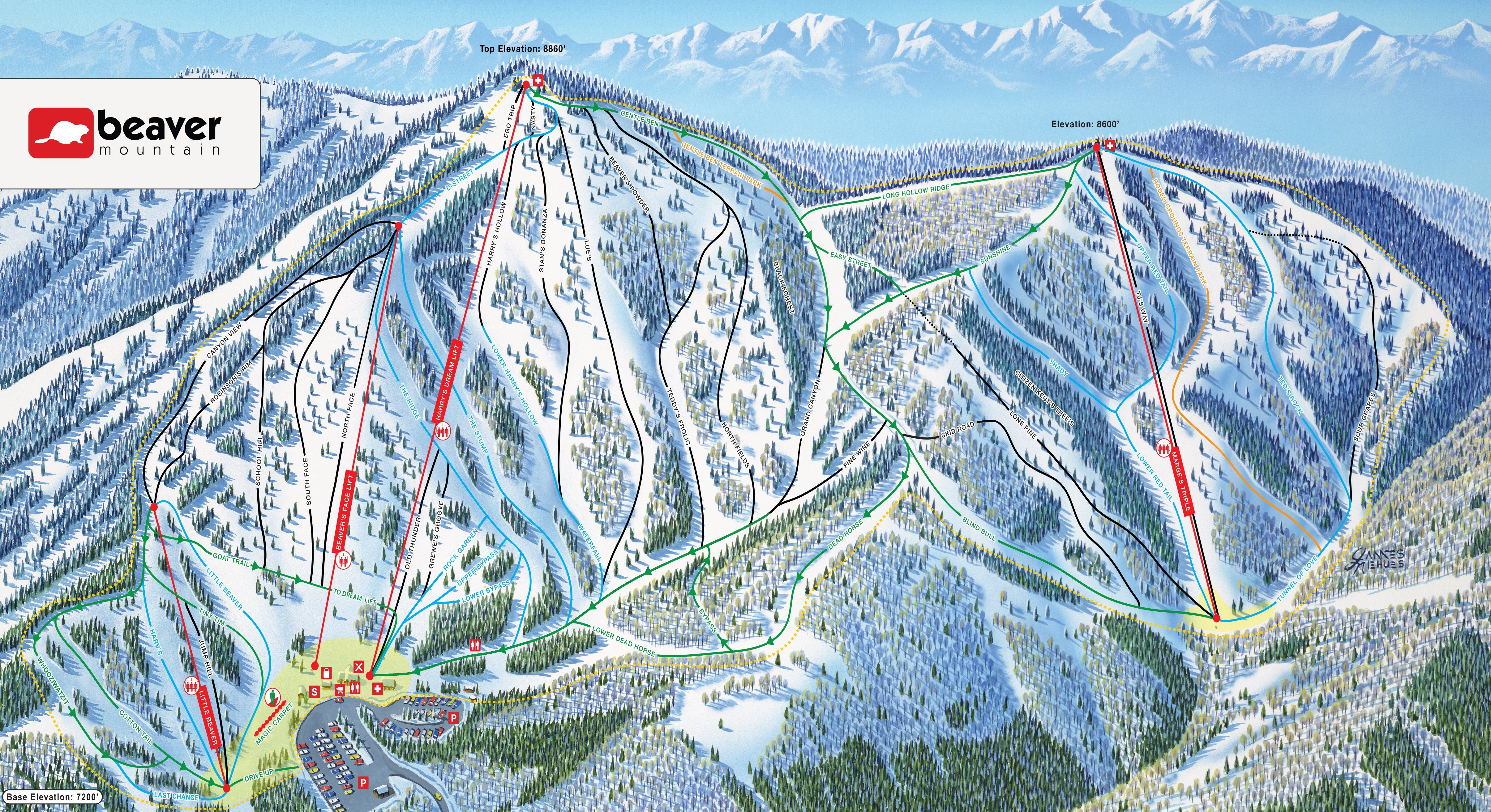 beaver mountain resort map (utah) | products | pinterest | trail