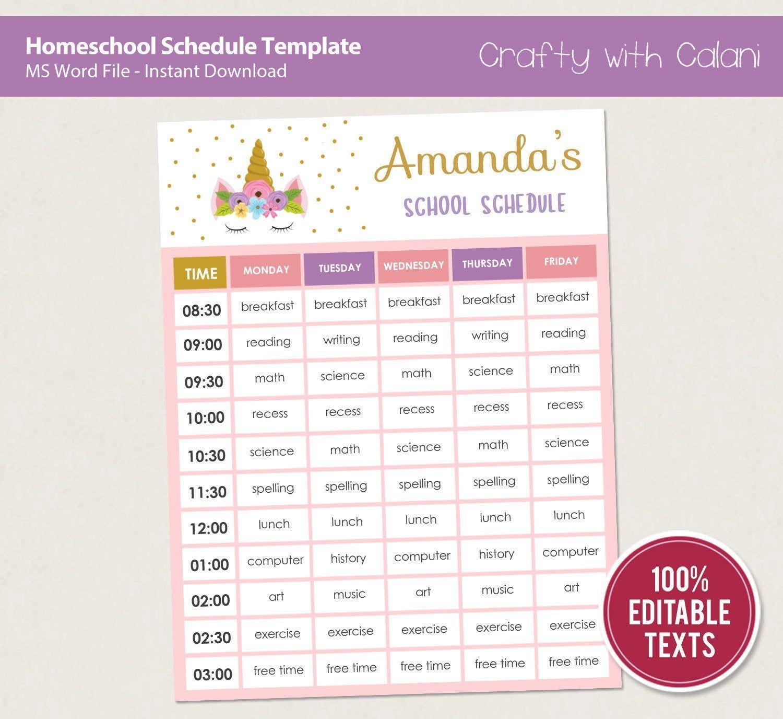 Home School Schedule Template Editable Homeschool Planner