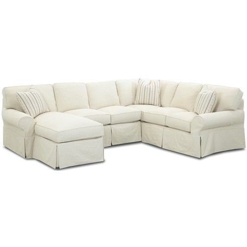 Klaussner Patterns Slipcovered Sectional Sofa With Left Chaise Wayside Furniture Akron