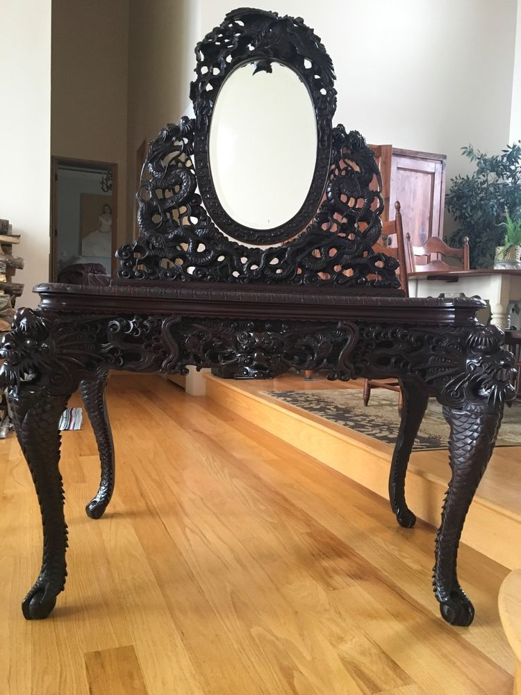 Ornate 19c Antique Chinese Hand Carved Dragon Vanity With