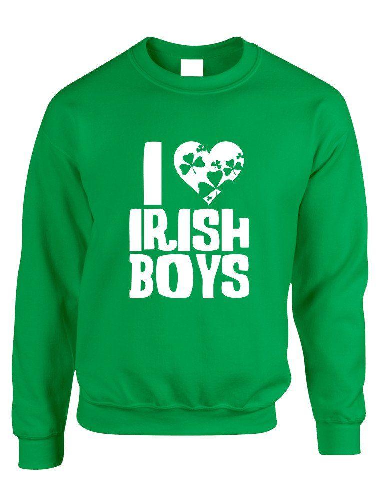 c5f6109d0 Adult Crewneck I Love Irish Boys St Patrick's Day Party Outfit #sweatshirt # stpatricksday #saintpatricksday #irish #shamrock
