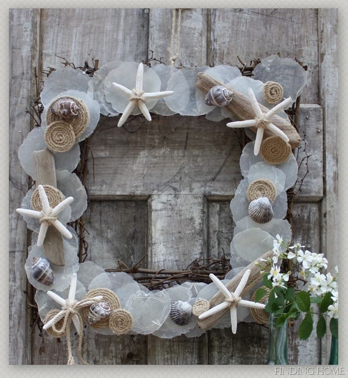 I love this costal inspired summer wreath. I think I could make it, if I can find capiz shells. Great blog with lots of creative projects.