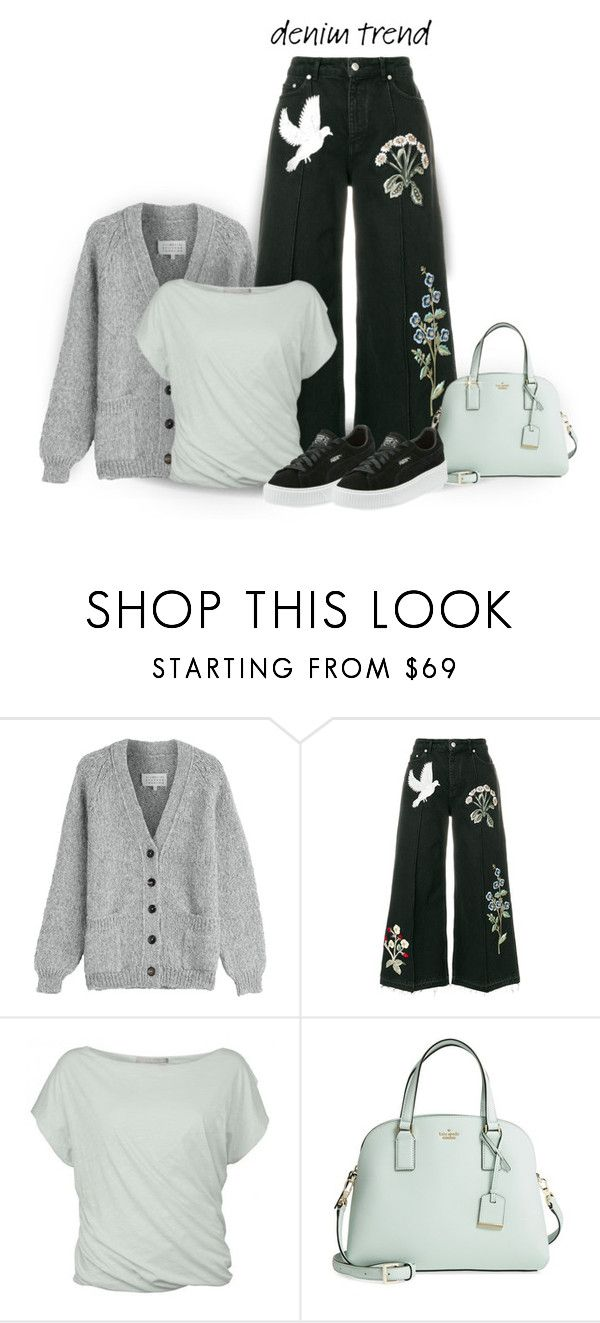 """""""Jeans/Cardigan/Tee/Bag/Sneakers"""" by pdcohen ❤ liked on Polyvore featuring Maison Margiela, Alexander McQueen, Noted*, Kate Spade and Puma"""