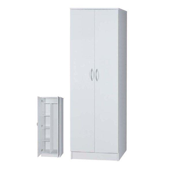 . Broom Cupboard 2 Door 5 Tier In White Finish 80x40x180 5cm Half