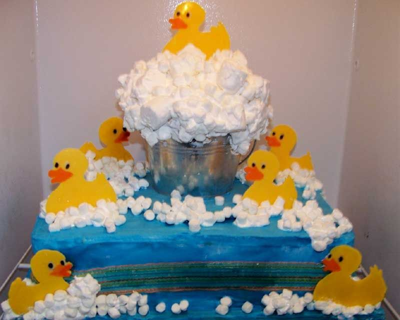 Rubber Ducky Cake. Make Bubbles Using Marshmallows  Giant And Min