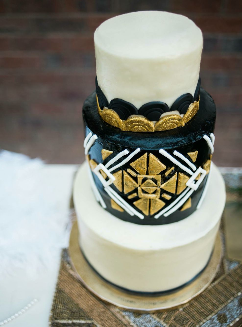 Great gatsby themed cake black gold and white sift bakehouse