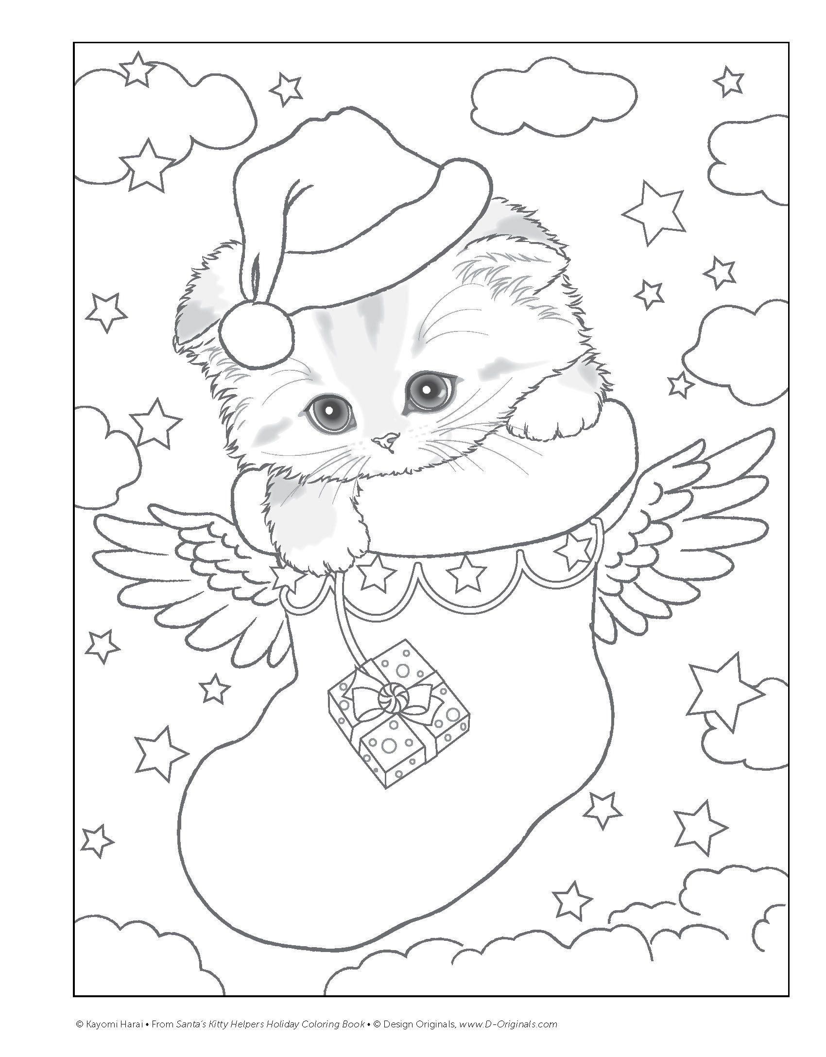 santas kitty helpers holiday coloring book design originals kayomi harai 0023863059121 - Holiday Pictures To Colour