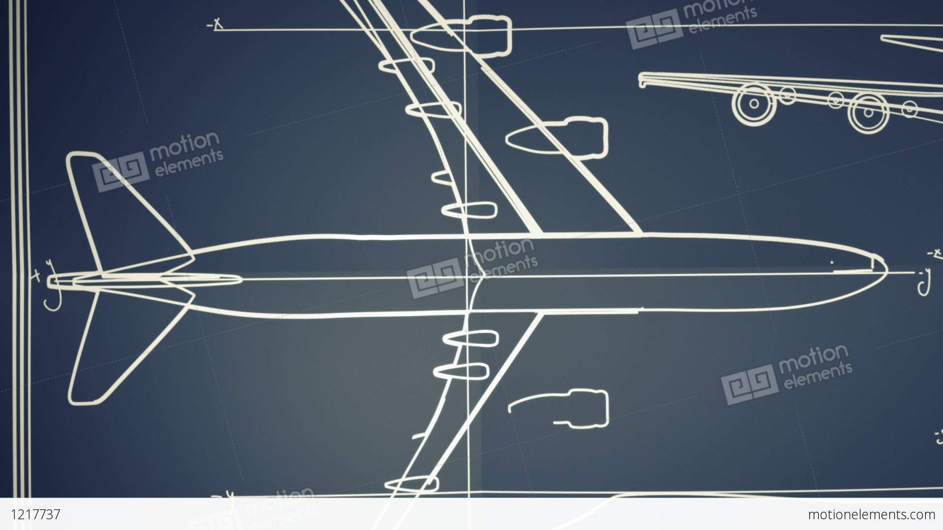 Aircraft blueprint smooth camera pan and zoom stock