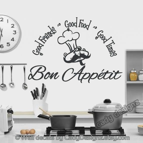 Bon Appetit Vinyl Wall Decal Kitchen Decor Good by CadyDesignz ...