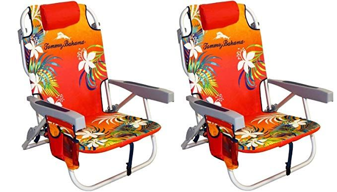 Tommy Bahama Chair Cooler Backpack Manual Lift For Stairs 2 With Storage Pouch And Towel Bar Orange Red Review