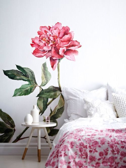 just a large peony wallpaper watercolor blossom and leaves wall mural single flower art bedroom white