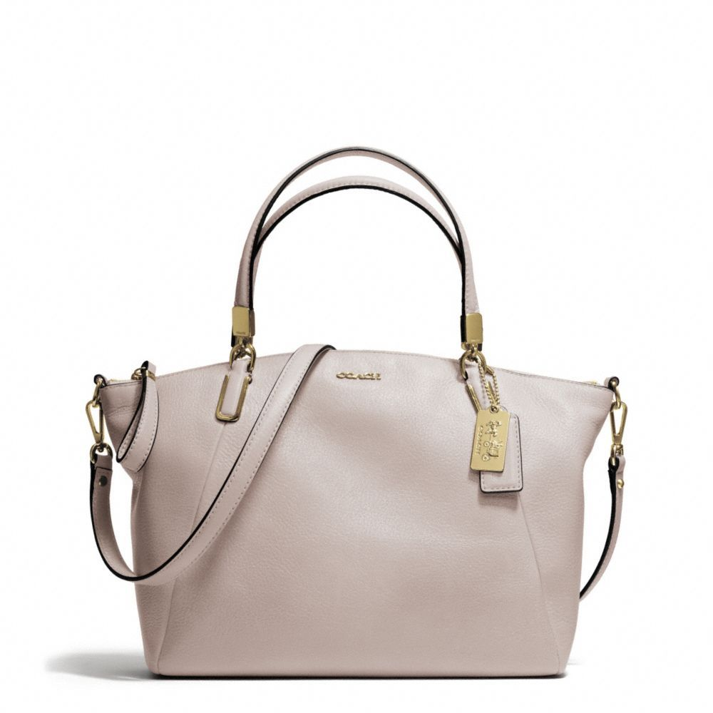 80f92c9ab1282 The Madison Small Kelsey Satchel In Leather from Coach great neutral color. Grey  birch