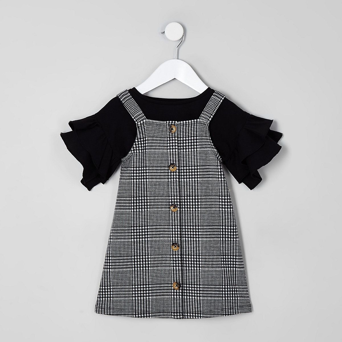 4db9b3637e7 Mini girls black check pinafore dress outfit - Baby Girls Dresses - Mini  Girls - girls