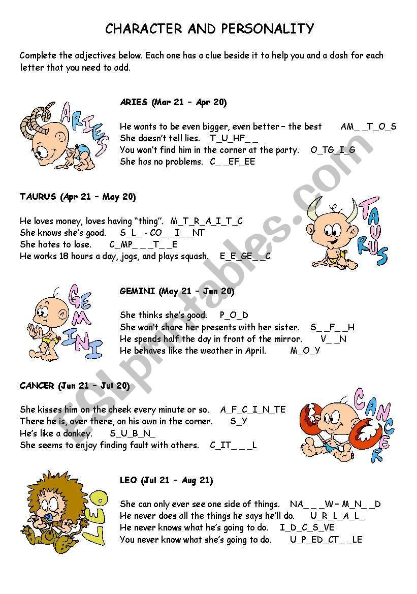 A Worksheet For The Students To Learn Adjectives Related To Character And Personality They Have To Guess The A Adjectives Some Sentences Vocabulary Worksheets