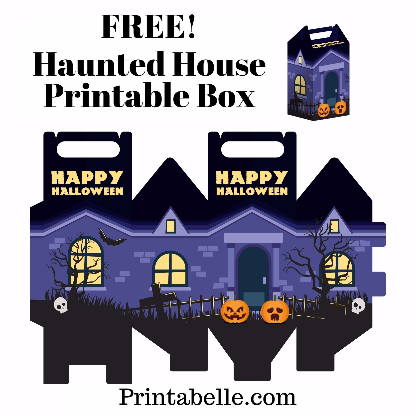 Happy Halloween 2020 Kids Going Up To House Free Haunted Halloween House Printable Box in 2020 | Halloween