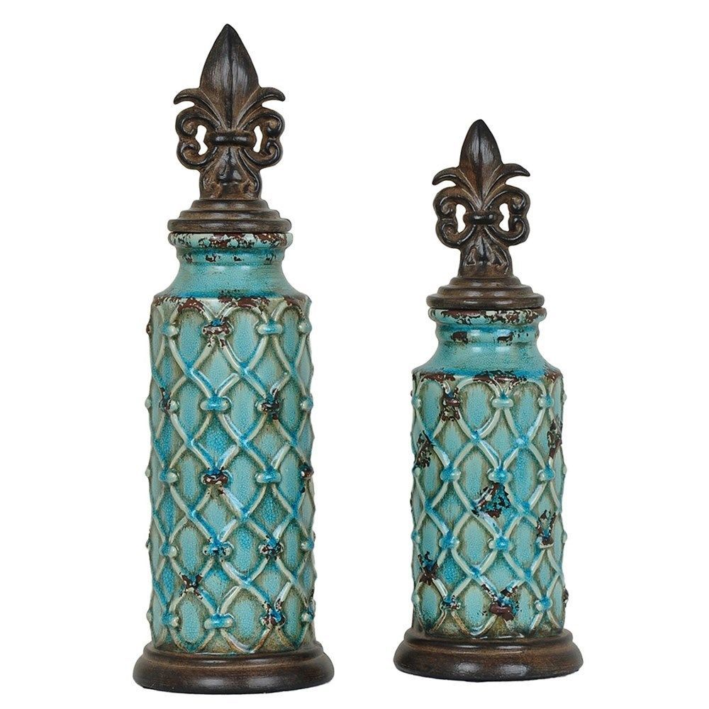 French Tuscan Fleur De Lis Urn Vase Container With Lid