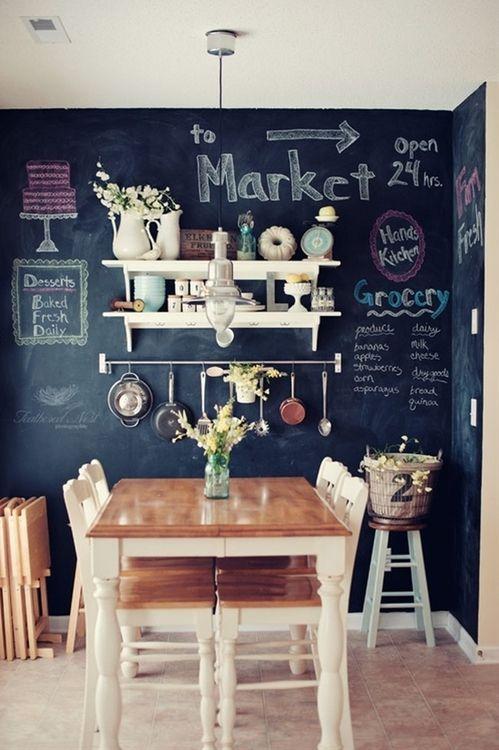 20 Dark Walls We're Loving  Chalkboard Walls Chalkboards And Walls Custom Kitchen Blackboard Design Inspiration