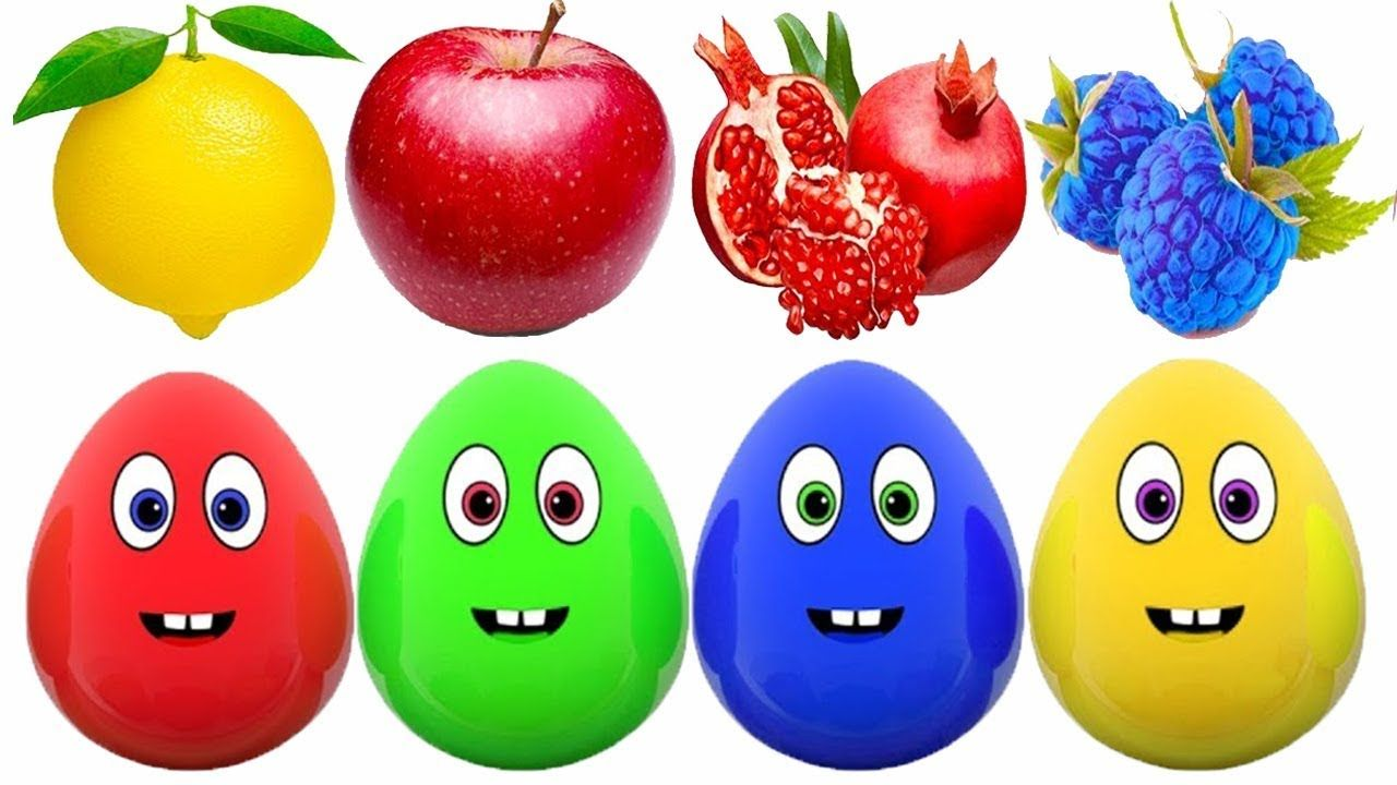 Surprise Eggs Learn Fruits for Kids Apple Orange